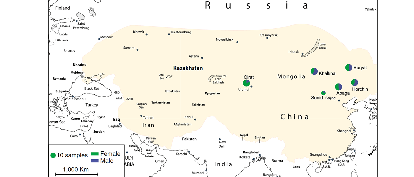 Mongolian tribes cluster with East Asians, closely related to the Japanese