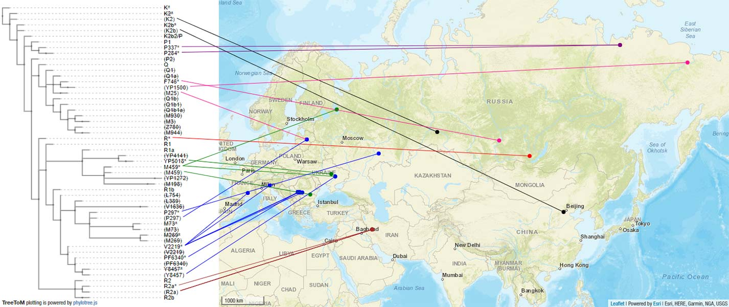 Ancient phylogeography: spread of haplogroups R1b, R1a and N