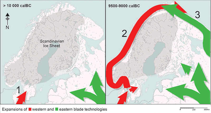 early-mesolithic-scandinavia-western-eastern-technology
