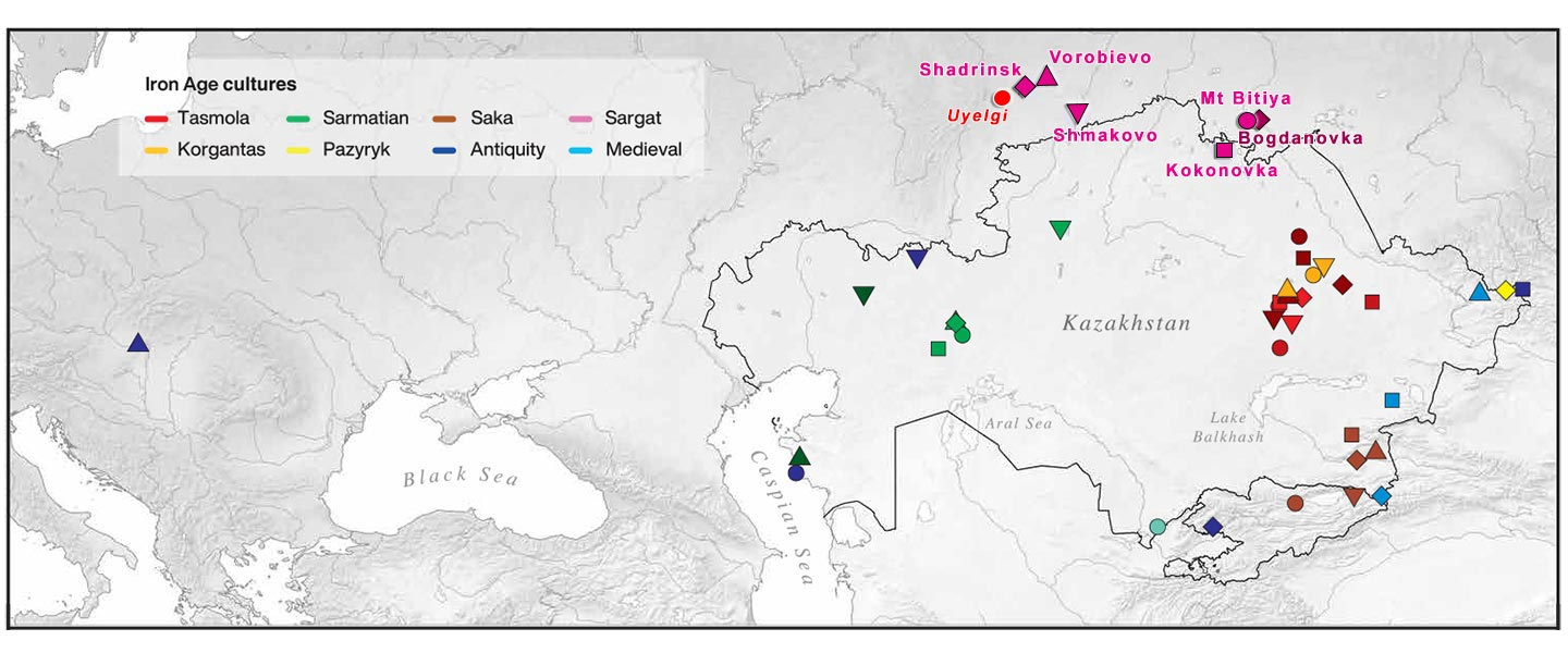 Iron Age nomads of West Siberia of hg. Q1b, R1a, and basal N1a-L1026